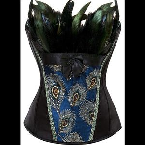 Tops - NWOT - Womens Black Peacock Feather Trim Corset